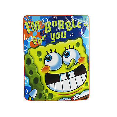 "Brand New Spongebob Bubble Trouble Large Soft Fleece Throw Blanket 46"" X 60"""