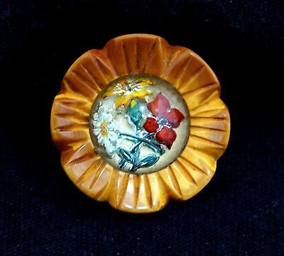 Old carved bakelite button-Bakelite flower carved glass intaglio-old button