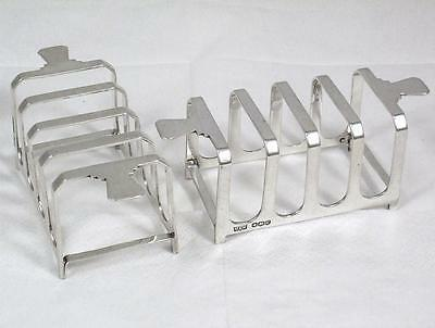 Pair of Art Deco 1938 H'm Sterling Silver 4 Section Toast Racks by Mappin & Webb
