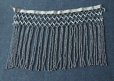 Antique 1920's Flapper Pearly White & Grey Lace Beaded Fringe Edging