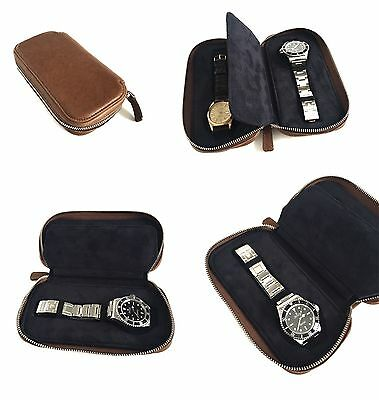 Handmade Genuine Brown Leather Luxury Watch Case Travel Pouch Roll Made In Italy