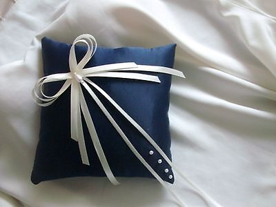 Navy Blue & Ivory  Satin Wedding Ring Cushion Hand Crafted