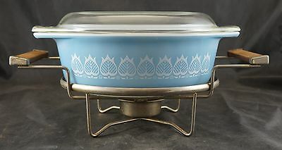 VINTAGE Pyrex 043 BLUE TULIP Covered 1.5 Quart Casserole  with Warming Stand