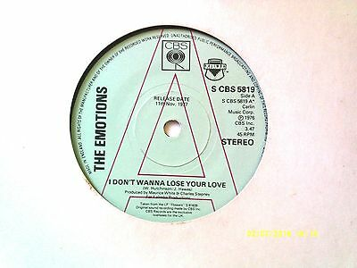"""The Emotions I Don't Wanna Lose Your Love 7"""" Promo Single 1976 N/mint"""