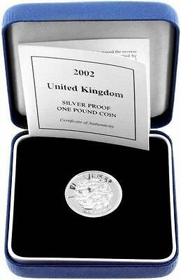 2002 United Kingdom One Pound Sterling Silver Proof Choice Cameo 3 Lions Coin