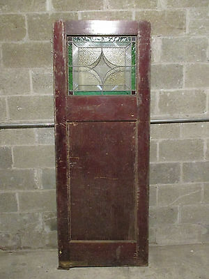 ~  Antique Stained Glass Door ~ 29.75 X 77.25 ~ Architectural Salvage ~