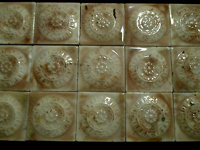 ~ NICE LOT OF 20 ORNATE ANTIQUE TILES FLOWERS ~ 3 x 3 ~ ARCHITECTURAL SALVAGE ~