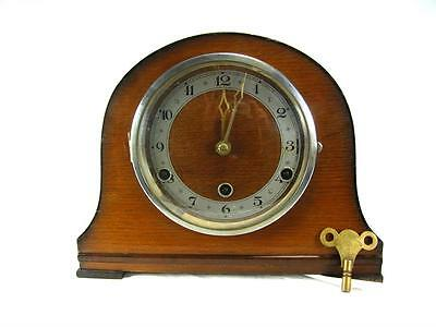 Antique Art Deco Mantel Clock English Made Westminster Chimes Mantle Oak Cased
