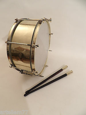 Vintage British Brass Military or Marching Band Snare Drum, circa 19th Century