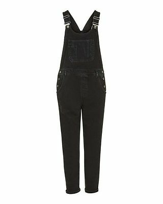Topshop maternity black washed effect distressed look dungarees bnwt size 16 44
