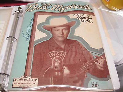 Bill Monroe 1950 Autographed Songbook, Bluegrass Hall Of Fame
