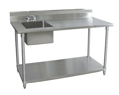 """BK Resources 72""""Wx30""""D Stainless Steel Prep Table w/ Left Side Sink"""