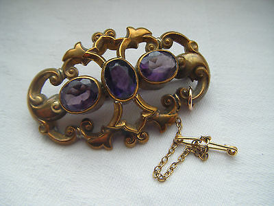 Victorian pinchbeck glass amethyst stones gold tone brooch with safety chain