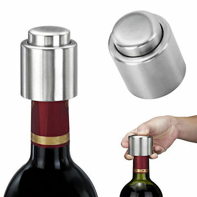 Stainless Steel Vacuum Sealed Red Wine Bottle Stopper Champagne Cap Reusable