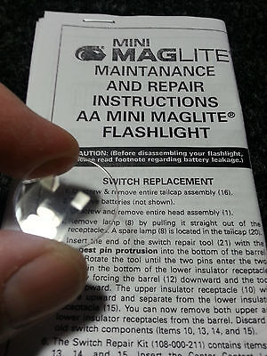 New Maglite AA Mag Flashlight Clear Plastic Lens PART 108-000-046 / 203-000-007