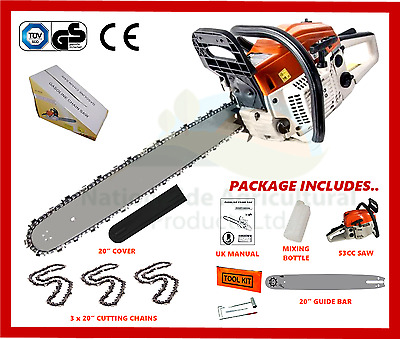 """Petrol Chainsaw New 2017 Model Complete With 20"""" Guide Bar 3 x Cutting Chains"""