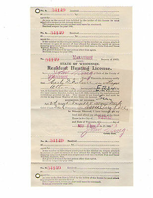 Resident Hunting License Wisconsin 1905
