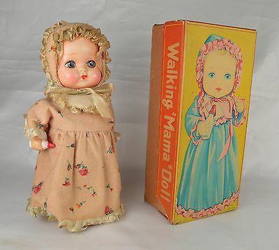 """Mama Walking Doll"" Japan 9 1/4"" Tall Clockwork Celluloid Tin Excellent W/Box"