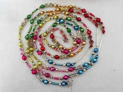 Vintage Mercury Glass Bead Garland Multicolored Fancy Shapes Indents Tubes 111""