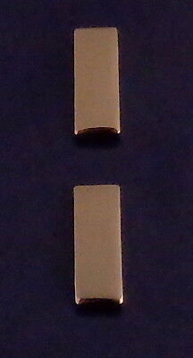 """2 Lieutenant LT Bars SMALL SMOOTH 3/4"""" POLISHED GOLD Collar Pins CLUTCH BACK USA"""