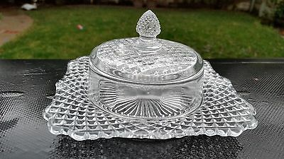 "Westmoreland ENGLISH HOBNAIL CLEAR 6"" CHEESE DISH WITH COVER"