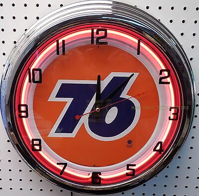 "17"" UNION 76 Gasoline Sign Neon Clock Gas Station Oil Lube"