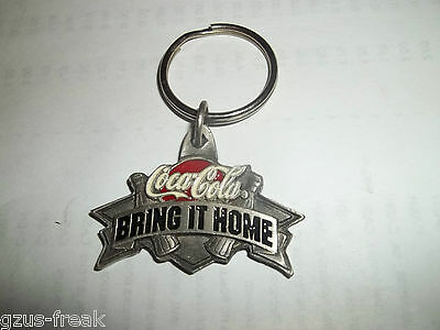 NOS Coca Cola bring it home pewter key ring chain fob Coke keychain