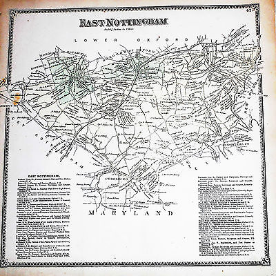 East Nottingham Township Chester Co 1873 Genuine Antique Color Map Hopewell