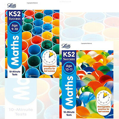 Letts KS2 Maths Age 9-10 & 10-11 :10-Minute Tests Collection 2 Books Set New
