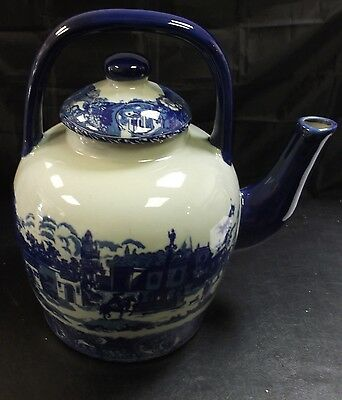 Large Vintage Blue & White Victoria Ware Ironstone Pottery Kettle With Lid  t