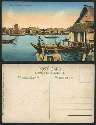 Singapore Old Colour Postcard MALAY DWELLINGS Houses Huts on Stilts Native Boats