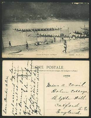 LAOS Indochina Old Postcard Courses de Pirogues Le Depart Canoes Boats Boat Race