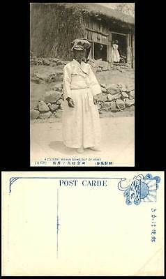 Korea Old Postcard Korean Country Woman Going Out House Hat Traditional Costumes