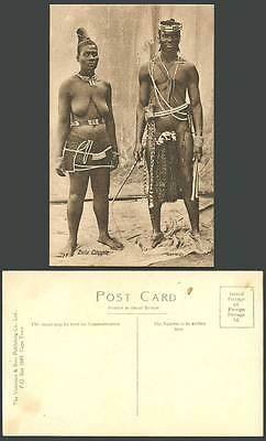 South Africa Zulu Couple Native Woman Bare-Breasts Black Man Ethnic Old Postcard