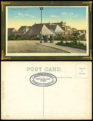 India 1911 Old Colour Postcard King's Camp Delhi, Coronation Durbar Tents Street