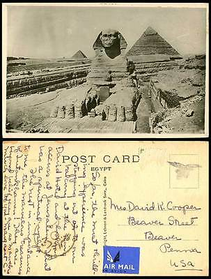 Egypt Airmail - USA Old Real Photo Postcard Cairo Excavated SPHINX Giza Pyramids