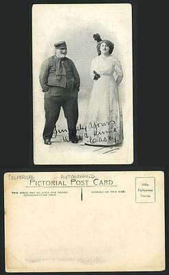 Edwardian Actress Actor Stage Costumes Sasey Autographed Theatrical Old Postcard