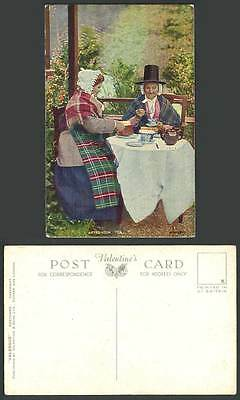Welsh Women Ladies Afternoon Tea, Costumes Wales c.1950 Old Colour Postcard Cake
