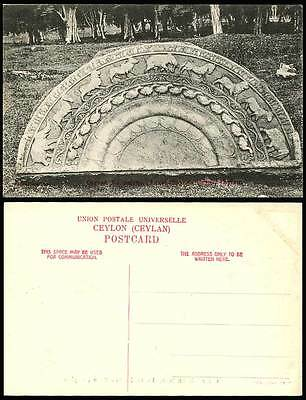 Ceylon Old Postcard Carved Moonstone Anuradhapura Ruins Elephant Horse Dog Birds