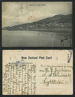 New Zealand c.1904 Old Postcard - BLUFF EAST from WHARF