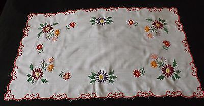 "VINTAGE HAND EMBROIDERED TABLE RUNNER 32"" by 19"""