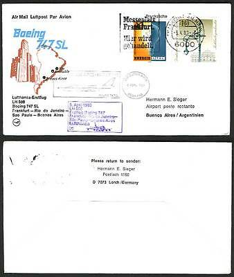 Frankfurt Buenos Aires 1980 LH 508  First Flight Cover