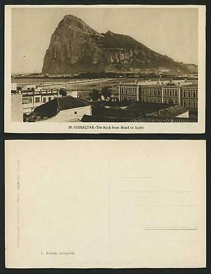Gibraltar Old B/W Postcard The ROCK from ROAD to SPAIN