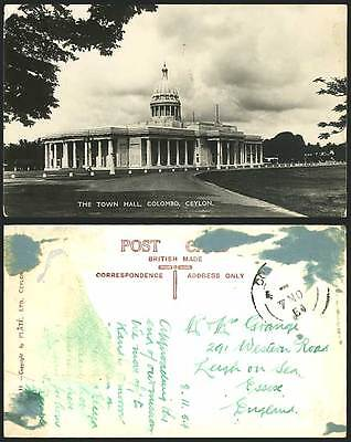 Ceylon 1954 Old Real Photo Postcard Colombo - Town Hall