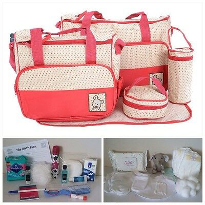 Luxury RED Pre-packed 5 Pc Maternity Hospital Changing Bag Mum & Baby (unisex)