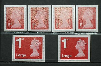 2016 M16L 1st, and 1st Large, NEW DARK RED Security Machin Code SET of 6v