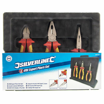 Silverline Electrician Insulated VDE Plier Set Long Nose Side Cutter Combination