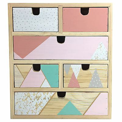 Geometric Pastel Coloured Wooden Drawer Organiser for Jewellery & Small Trinkets