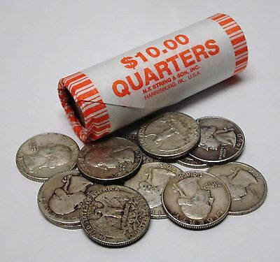 Circulated, Assorted Roll of 40 Silver Washington Quarters