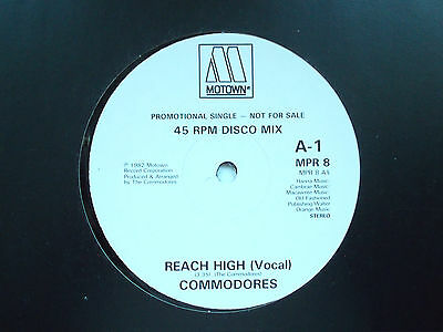 """Commodores Reach High 12"""" Promo Single 1982 N/mint"""